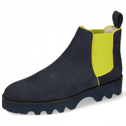 Ankle boots Susan 70 Como Navy Binding Fluo Green