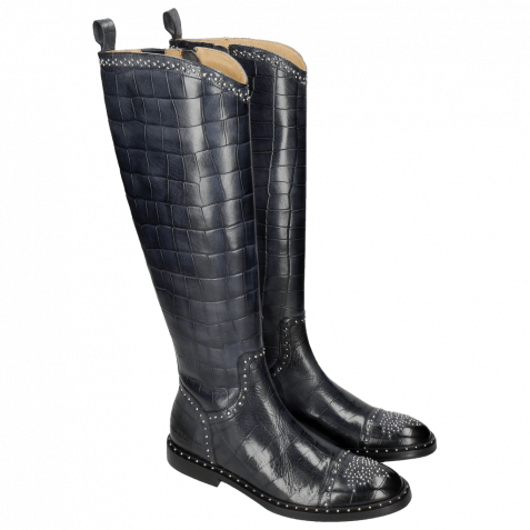Boots Sally 116 Turtle Navy Rivets Nickle Welt Black