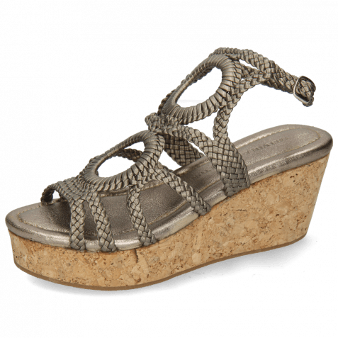 Sandals Hanna 58 Woven Pewter Cork