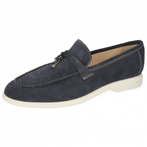 Loafers Earl 3 Suede Pattini Navy Stitching Natural