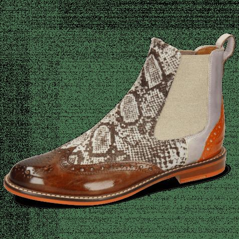 Ankle boots Selina 29 Vegas Mid Brown Hairon Snake Pale Lila Arancio