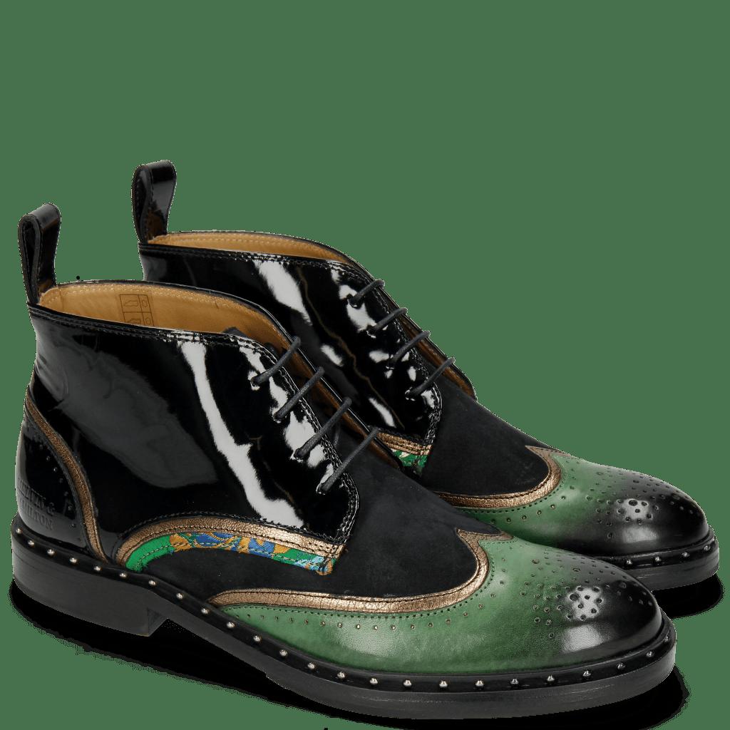 Ankle boots Sally 30 Dark Forest Nappa Aztek Bronze Patent Oriental