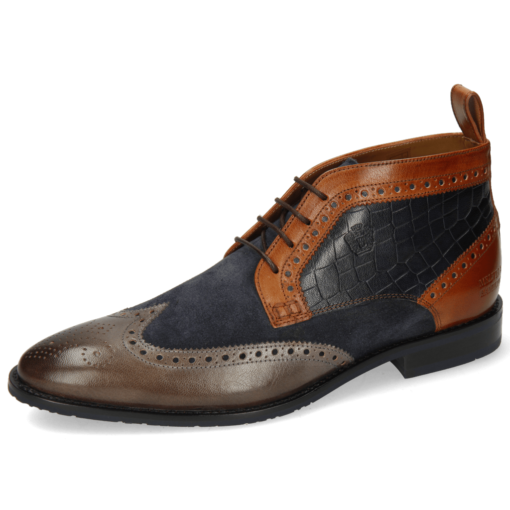 Ankle boots Victor 7 Venice Stone Suede Pattini Navy Cognac