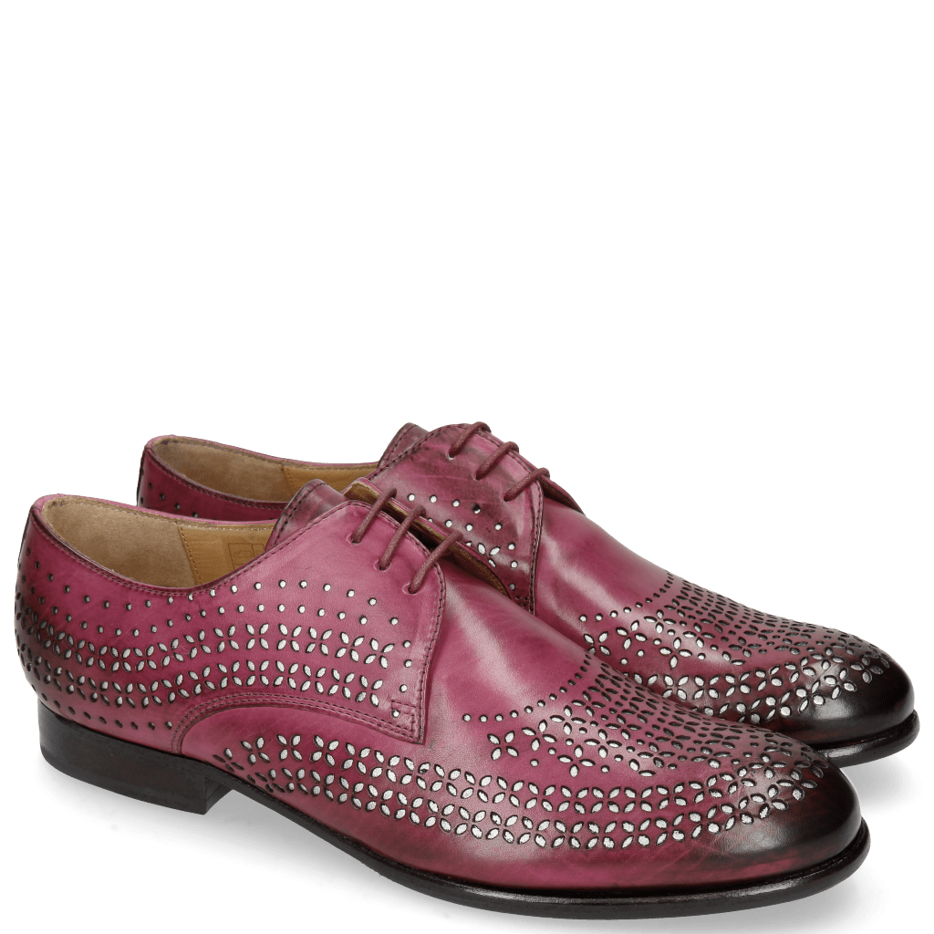 Derby shoes Sally 82 Dark Pink Lasercut Feather