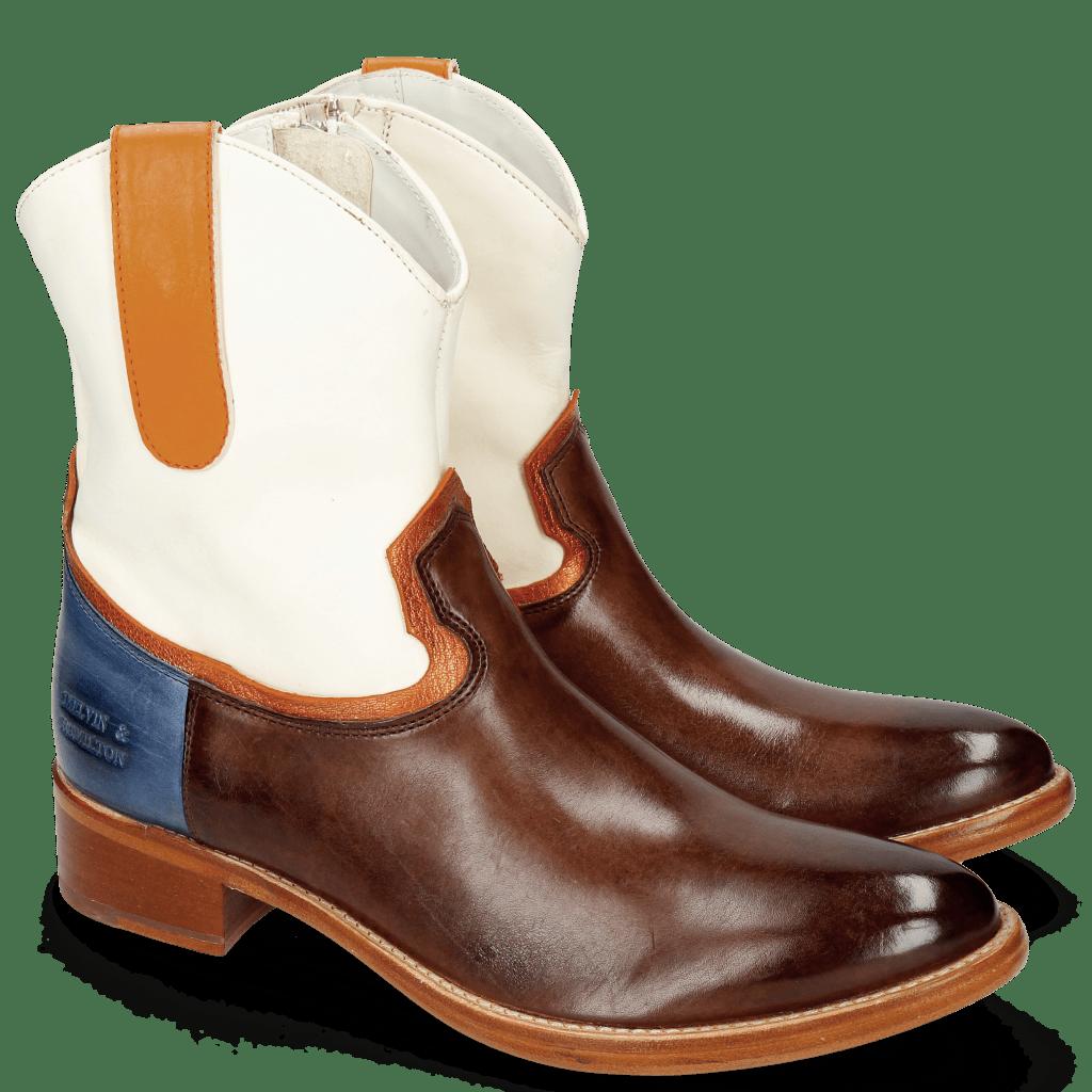 Ankle boots Blanca 5 Mogano Washed White Glitter Orange