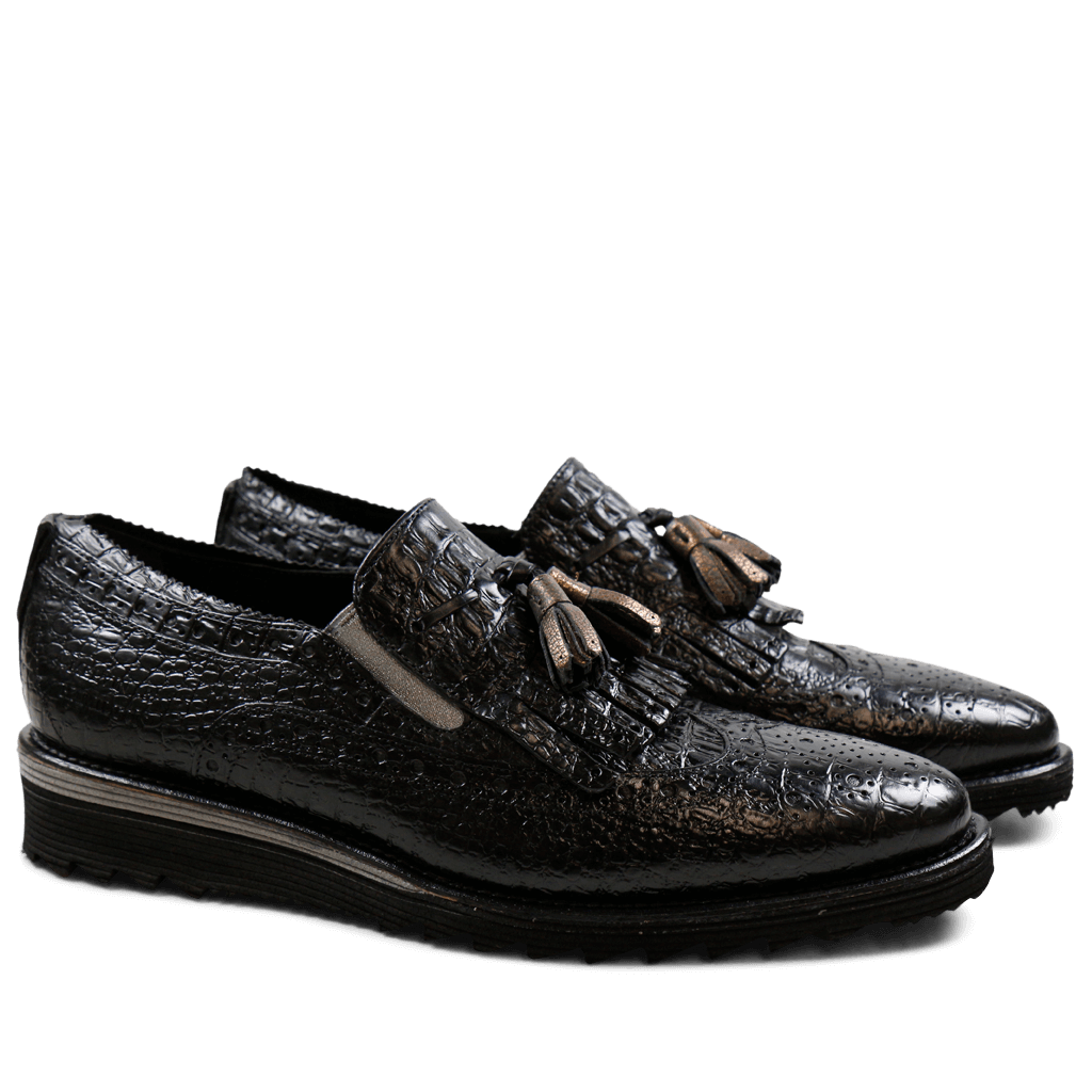 Loafers Amy 10 Baby Croco Black Tassel Bronze Elastic Cooper Cut Angel Black