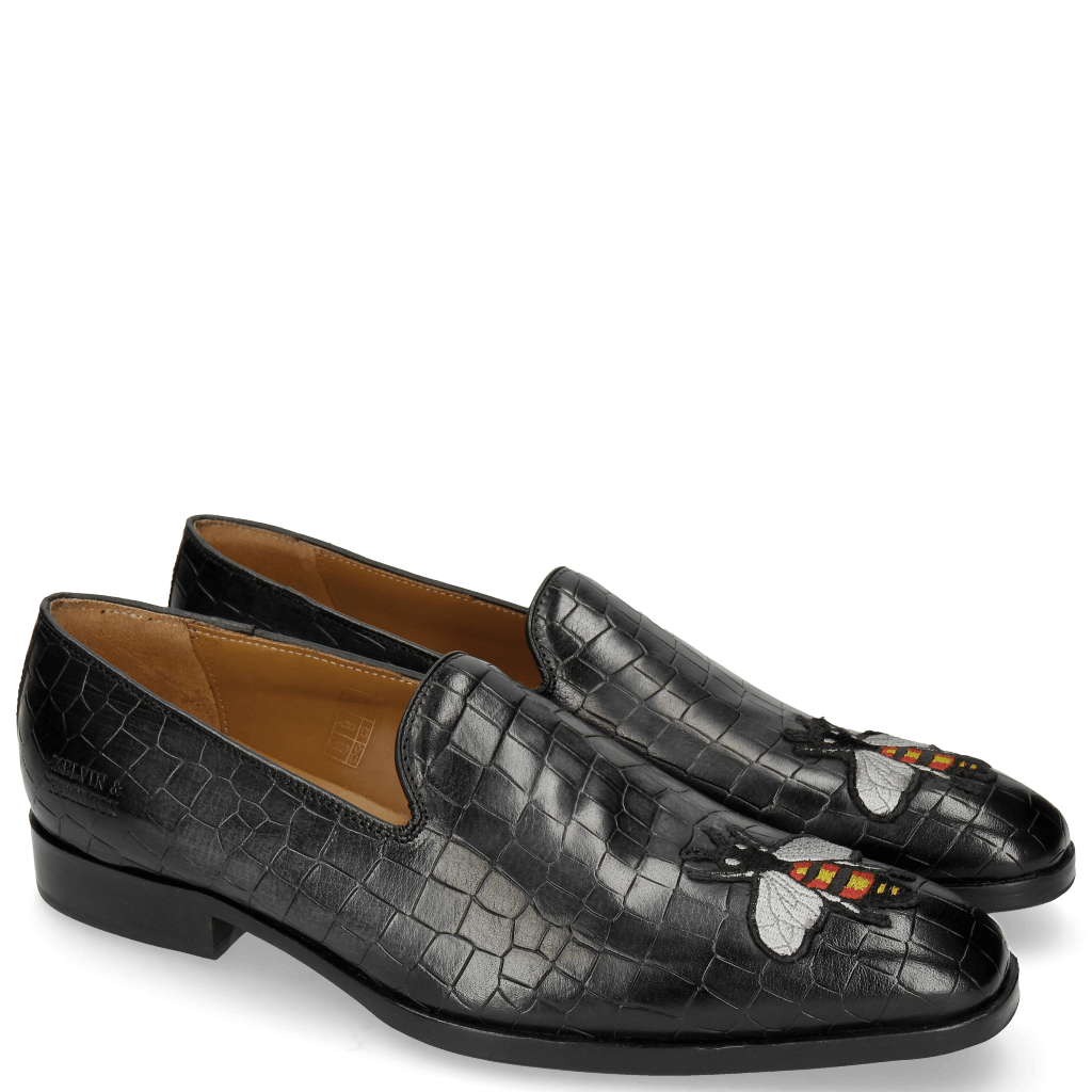 Loafers Prince 1 Crock Black Toe Patch Bee