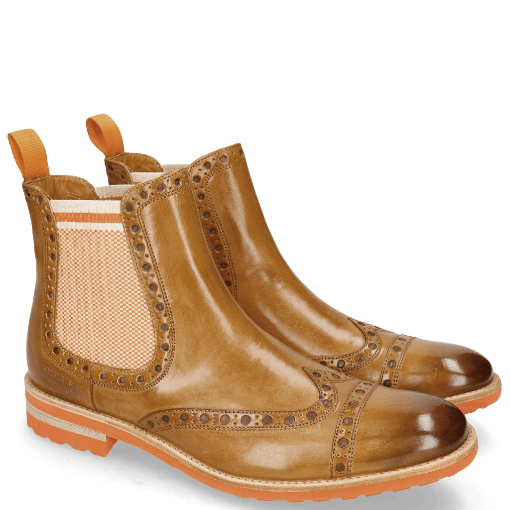 Ankle boots Eddy 46 Sand Underlay Brown Elastic Biker Orange