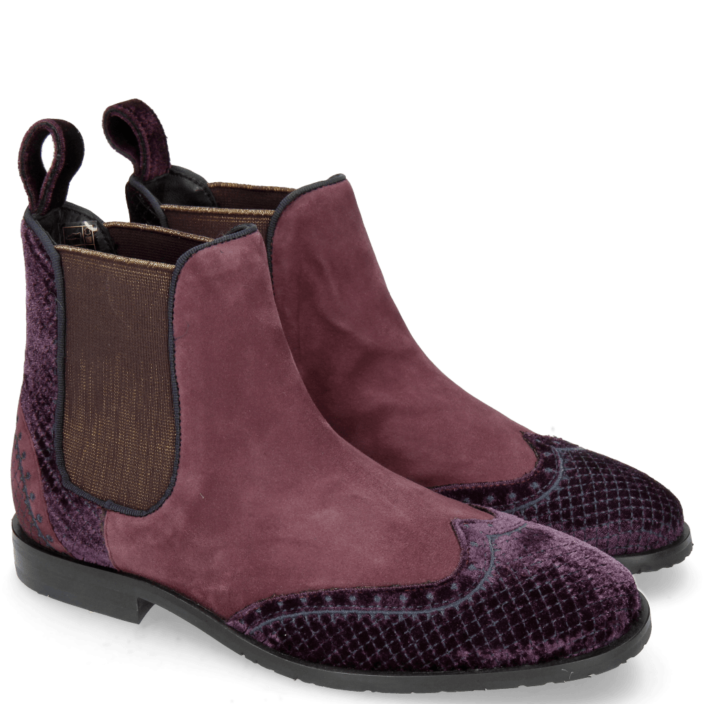 Ankle boots Giulia 2 Velluto Dark Purple Suede Chilena Deep Pink