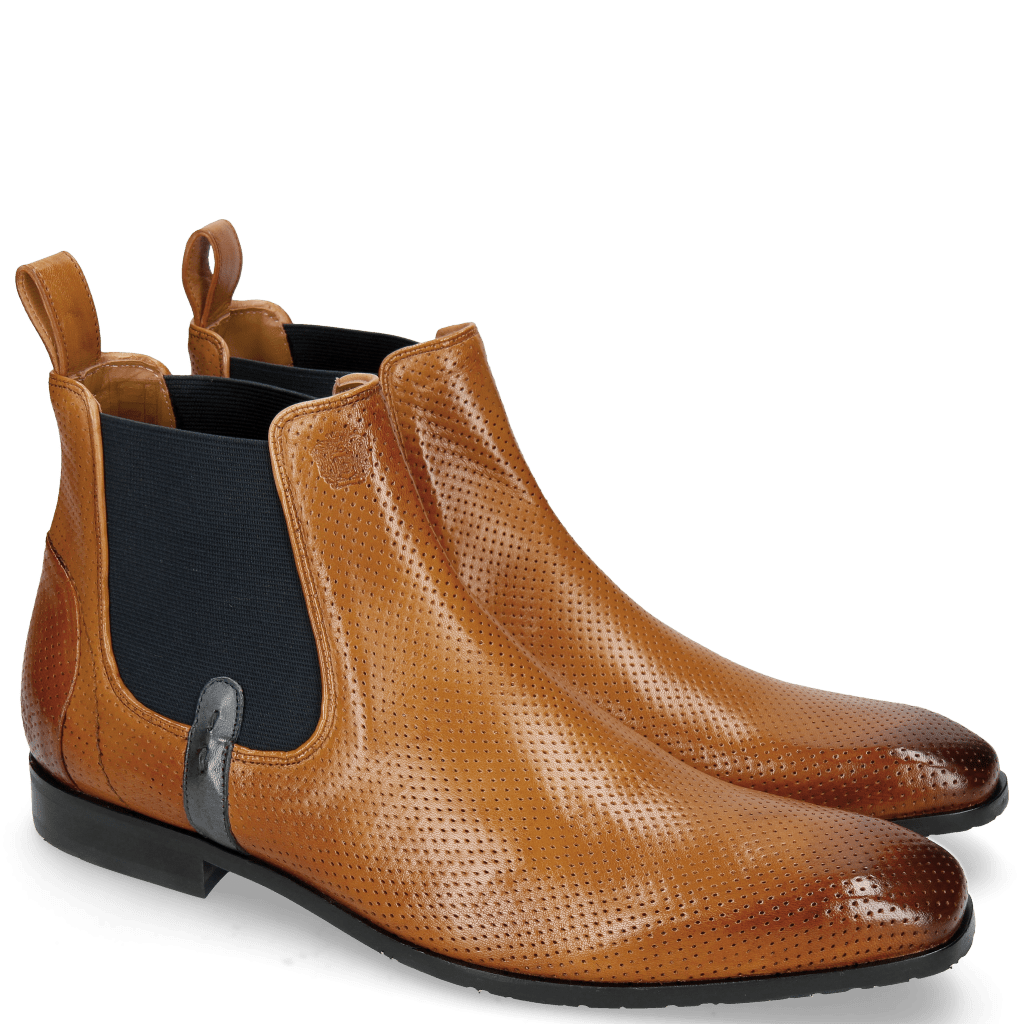 Ankle boots Rico 5 Rio Perfo Tan Elastic Navy Strap