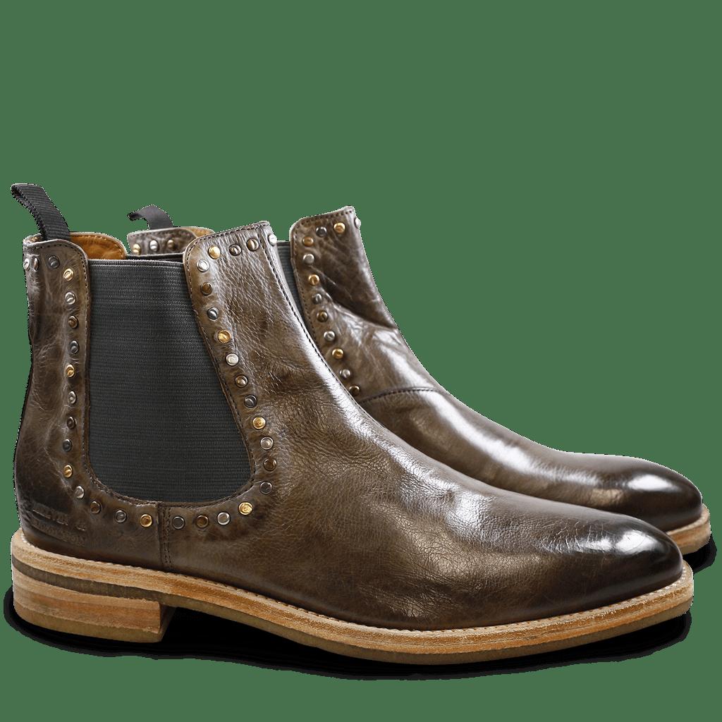 Ankle boots Tom 2 Milano Morning Grey Rivets Mixed Elastic Grey Crepe Natural