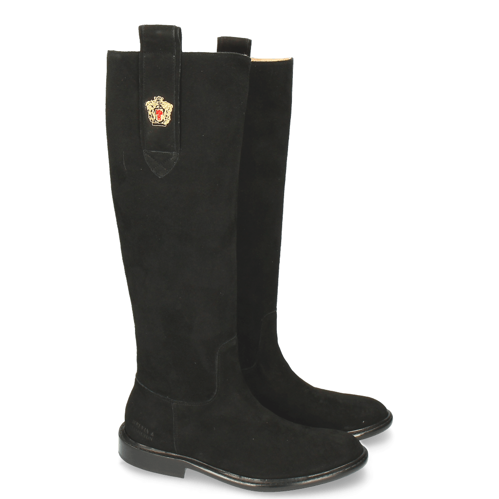 Boots Sally 63 Suede Black Embrodery New HRS Sally 25 Thick