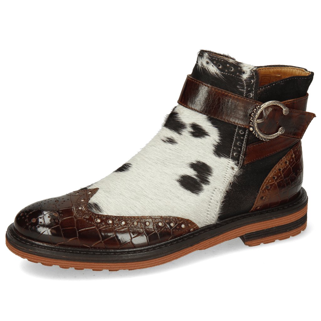 Ankle boots Amelie 67 Crock Mid Brown Hairon Jersey Textile Prisma Bronze
