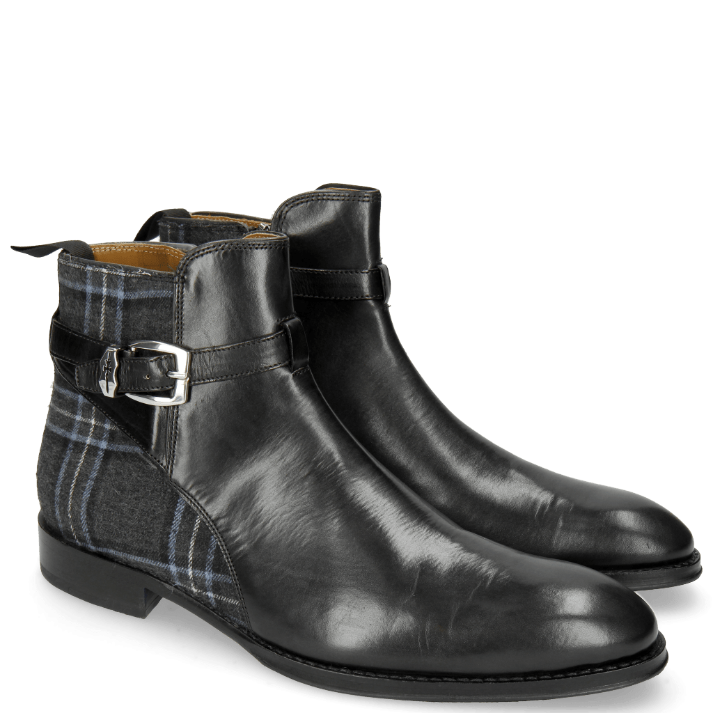 Ankle boots Kane 1 Black Textile Charcoal Strap Vegas Sword Buckle