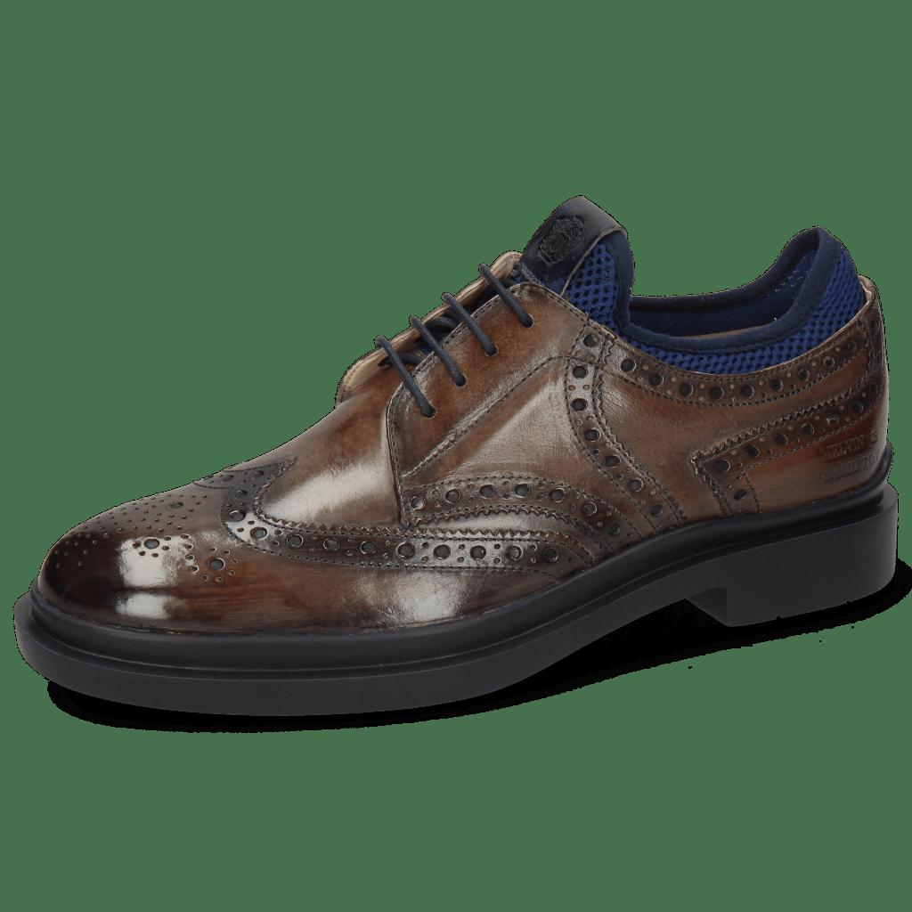 Derby shoes Ron 2 Stone Net Lycra Navy Patch