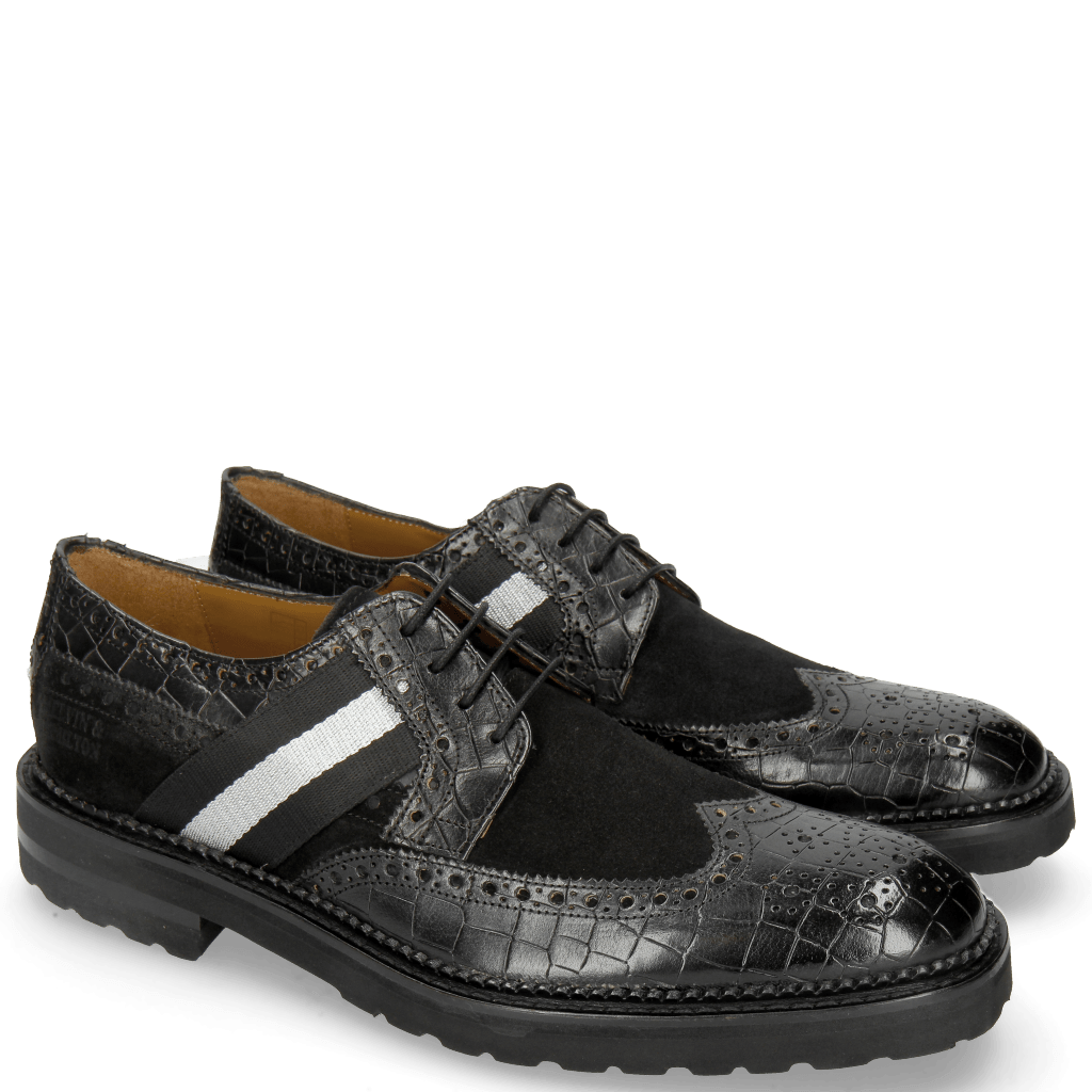 Derby shoes Eddy 25 Crock Black Suede Pattini Black