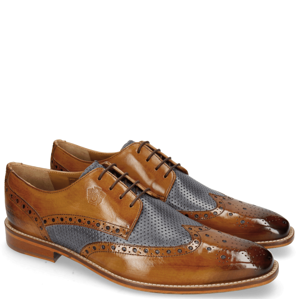 Derby shoes Martin 15  Berlin Tan Perfo Navy Lining Textile