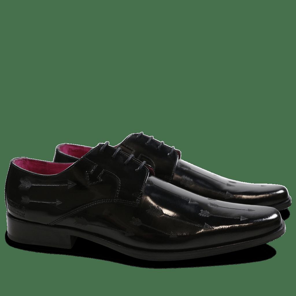 Derby shoes Mark 5 Brush Black Lasercut Arrow New HRS