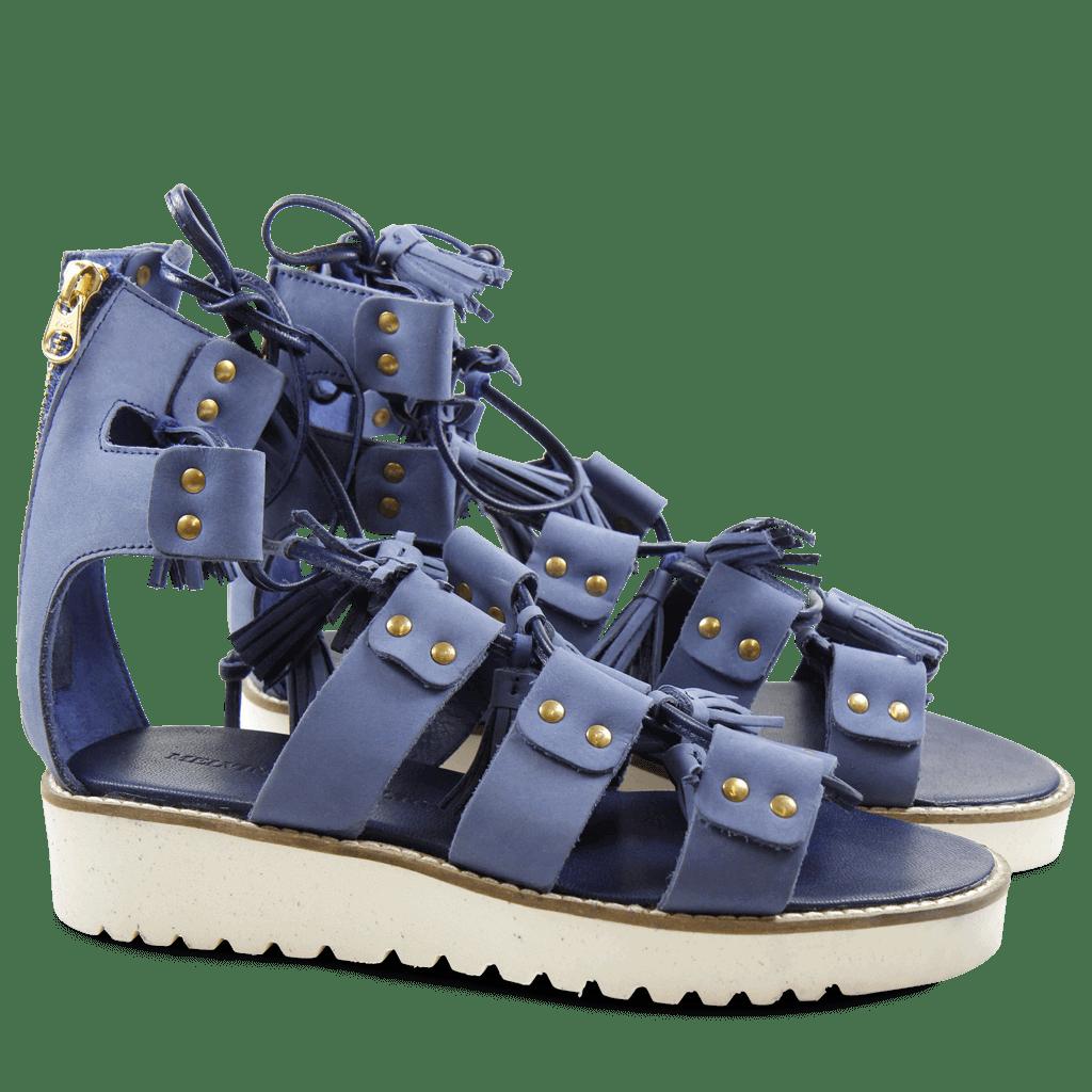 Sandals Celia 20 Nubuk Blue Dagget White