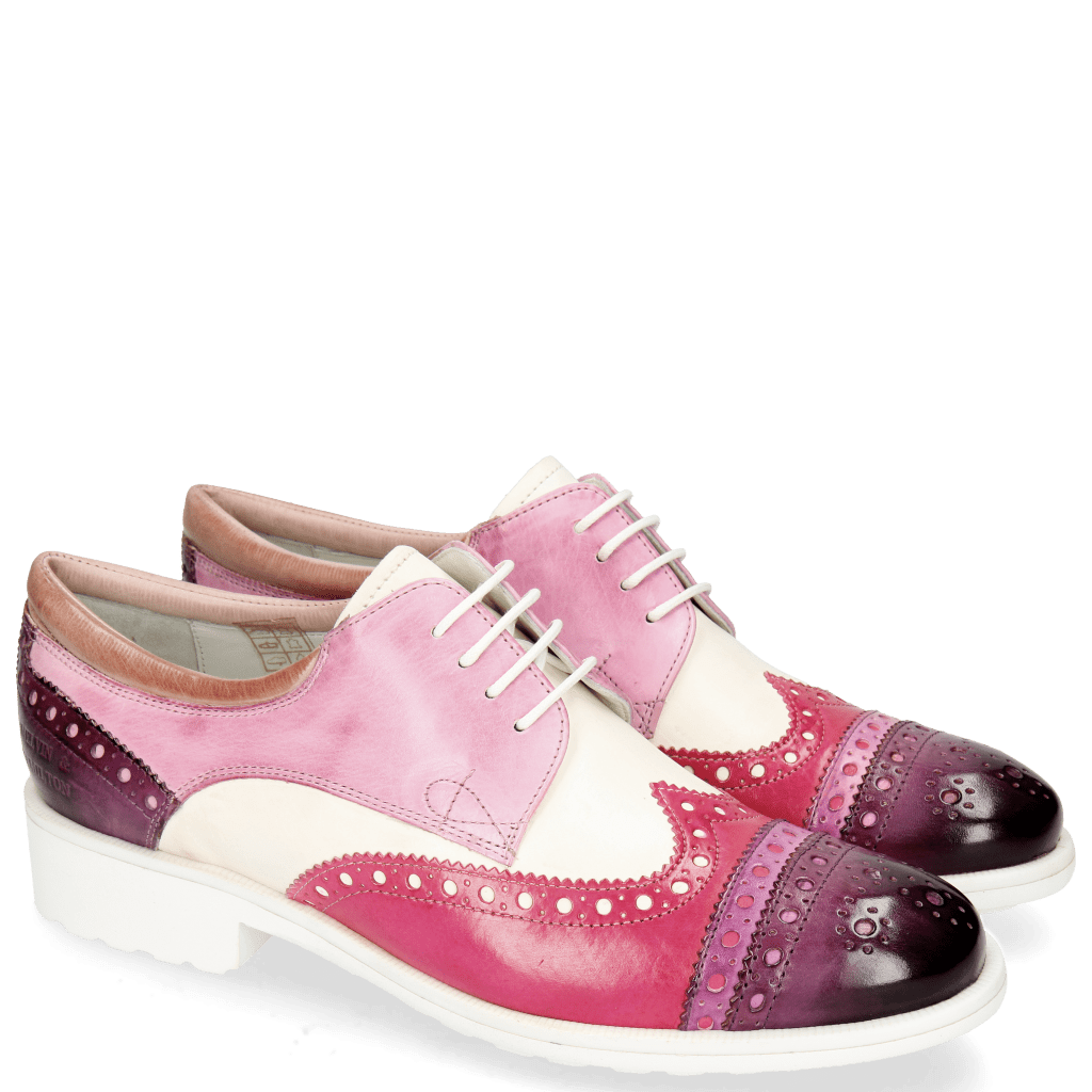 Derby shoes Amelie 85 Vegas Viola Eggplant White Lilac Glove Nappa Rose