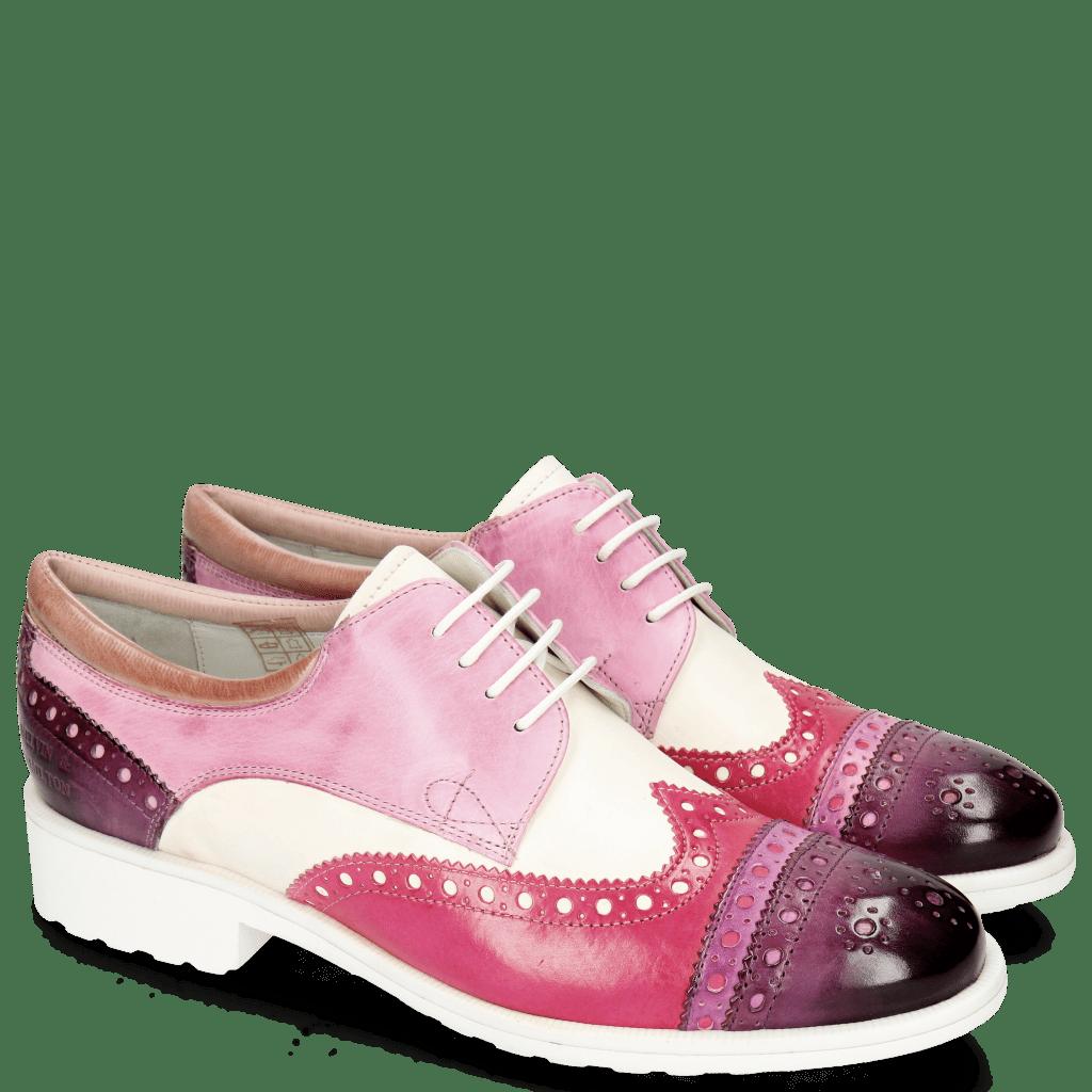 Derby shoes Amelie 85 Vegas Viola Eggplant White Lilac Glove Nappa Rose