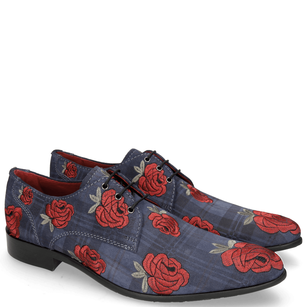 Derby shoes Toni 1 Suede Check Navy Embroidery Roses