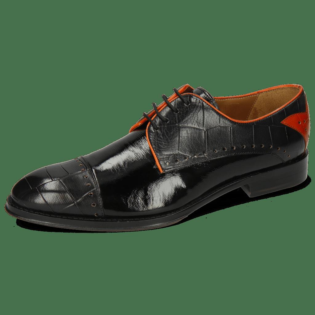 Derby shoes Kane 30 Turtle Black Soft Patent Orange