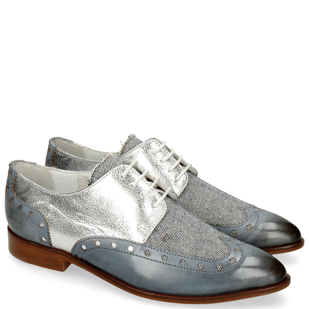Derby shoes Jessy 38 Moroccan Blue Denim Metal Silver