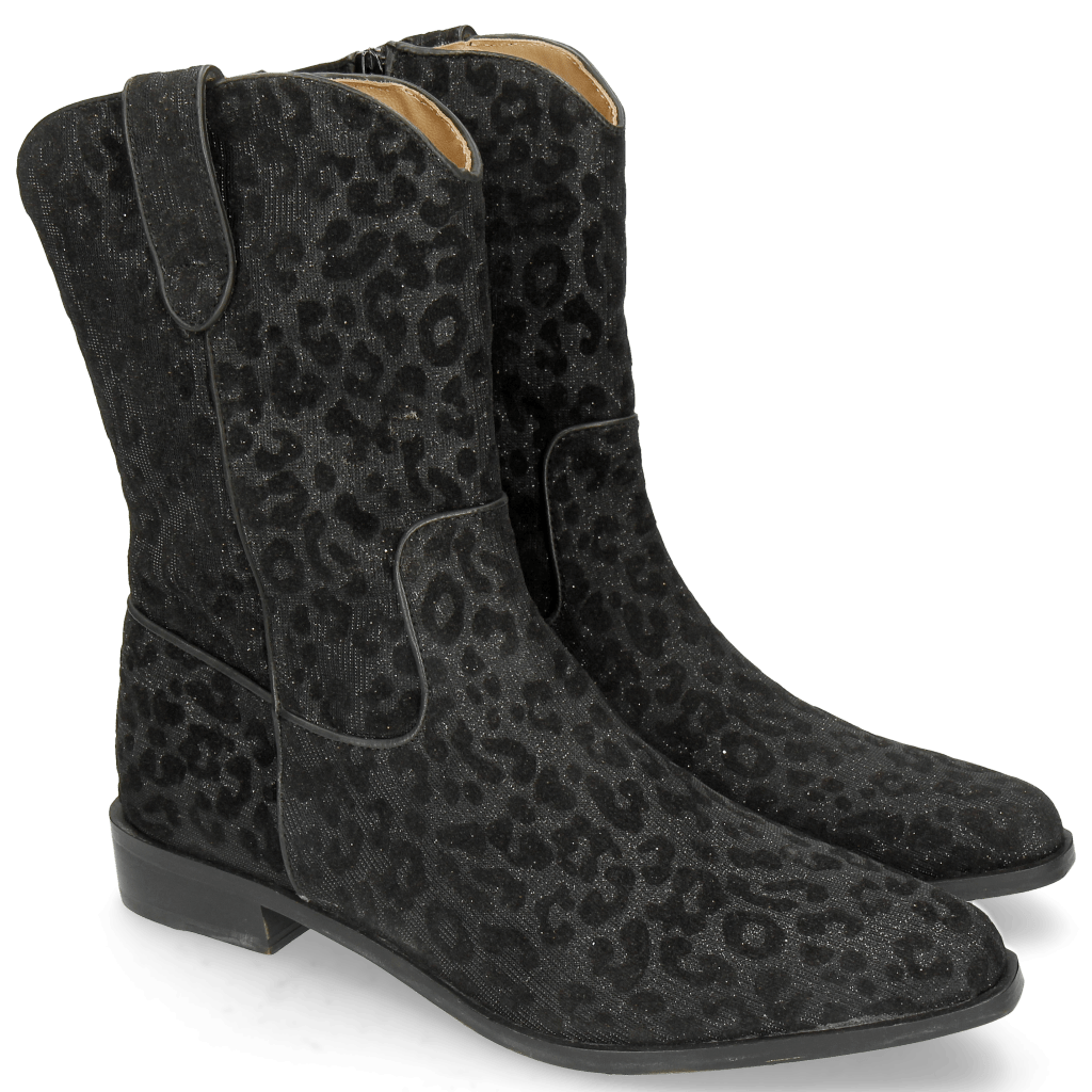 Ankle boots Marlin 31 Leo Glitter Black Binding Nappa Black