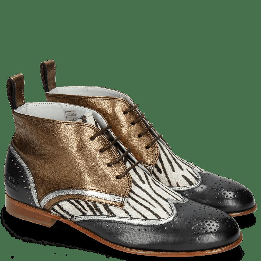 Ankle boots Sally 30 Vegas London Fog Nappa Aztek Bronze Hairon Young Zebra