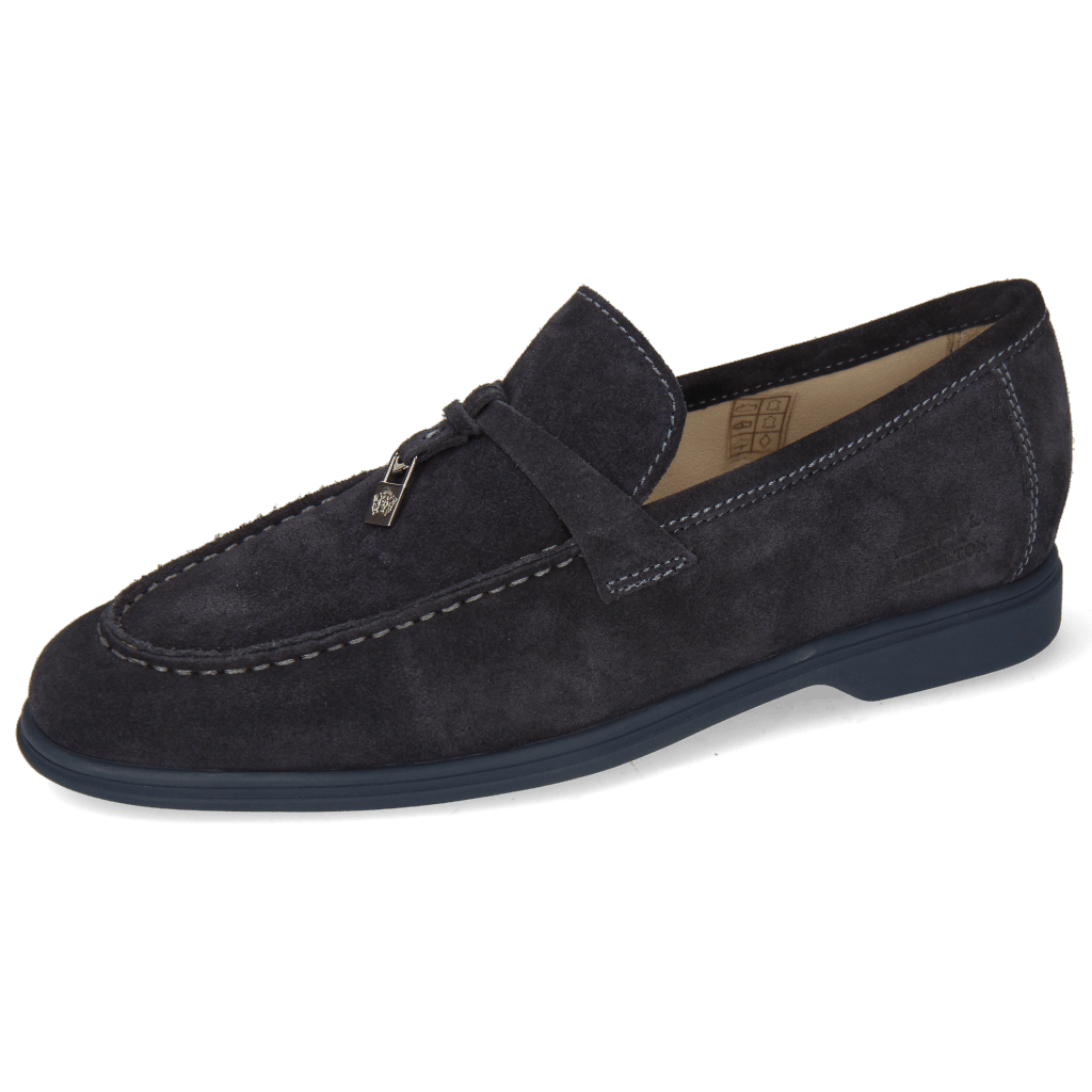 Loafers Earl 3 Suede Pattini Navy Accessory Nickel