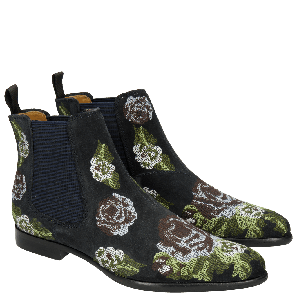 Ankle boots Keira 6 Suede Navy Embrodery Blue Green Beige Orange
