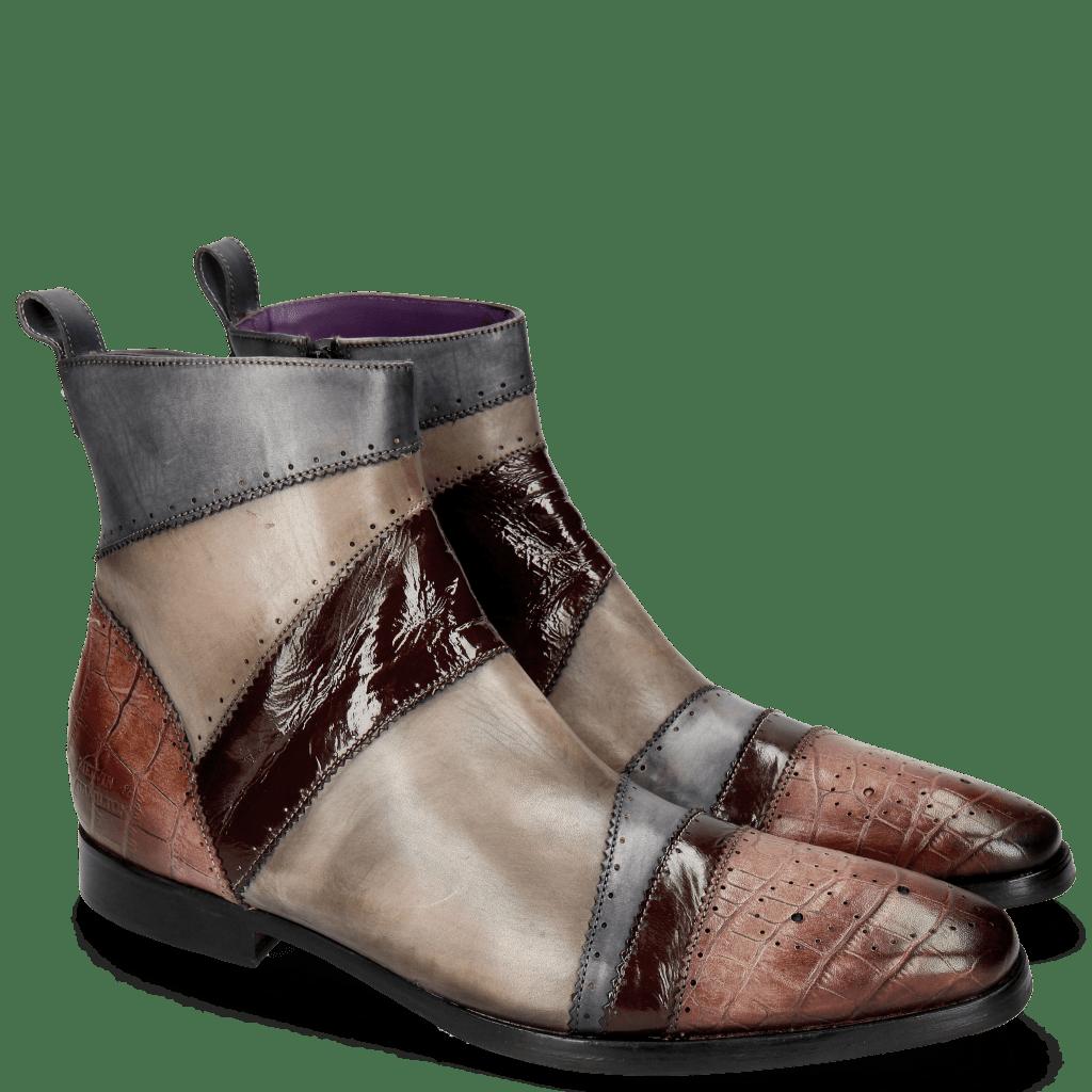 Ankle boots Elvis 26 Big Croco Plum Clayton Wine