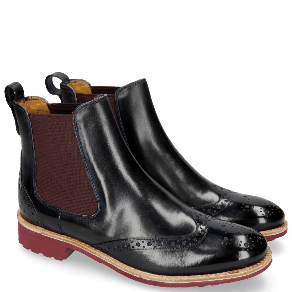 Ankle boots Amelie 5 Navy Elastic Burgundy