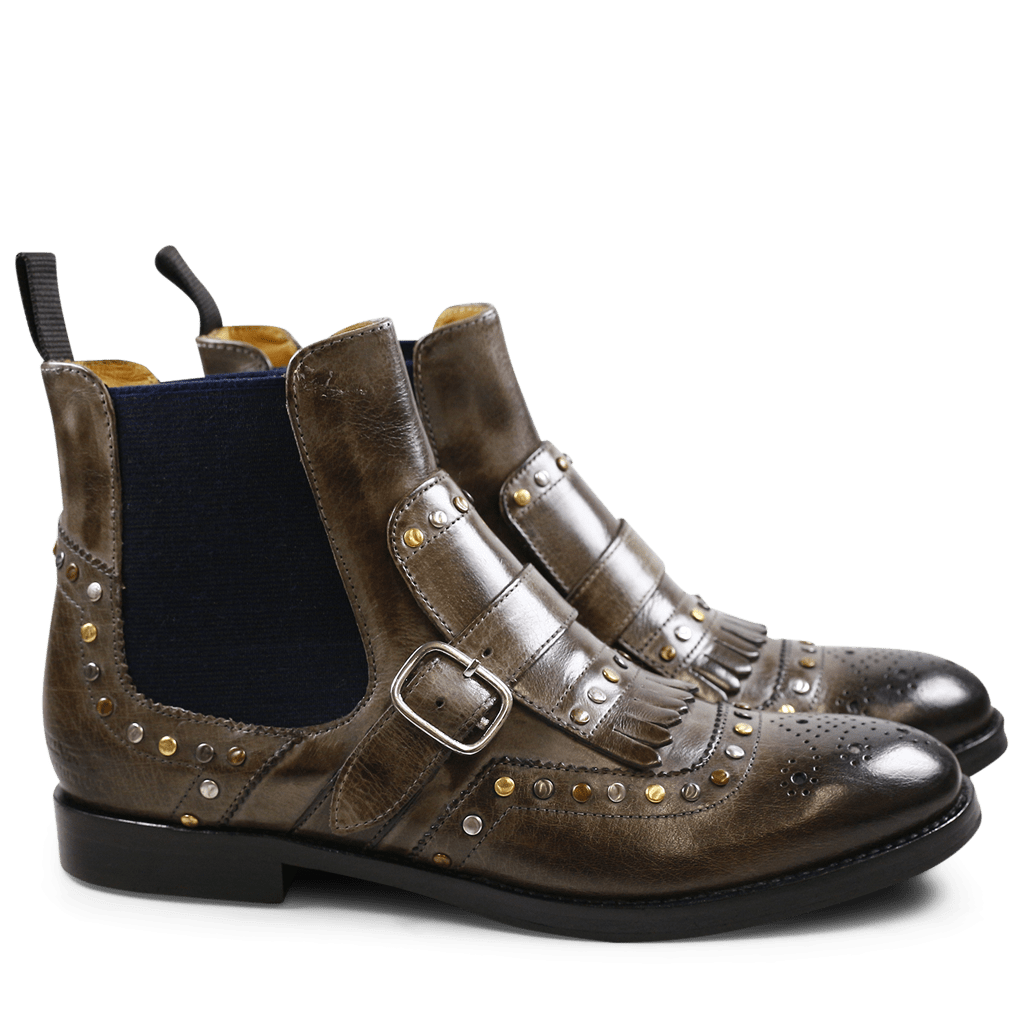 Ankle boots Amelie 53 Stone Rivets Elastic Navy
