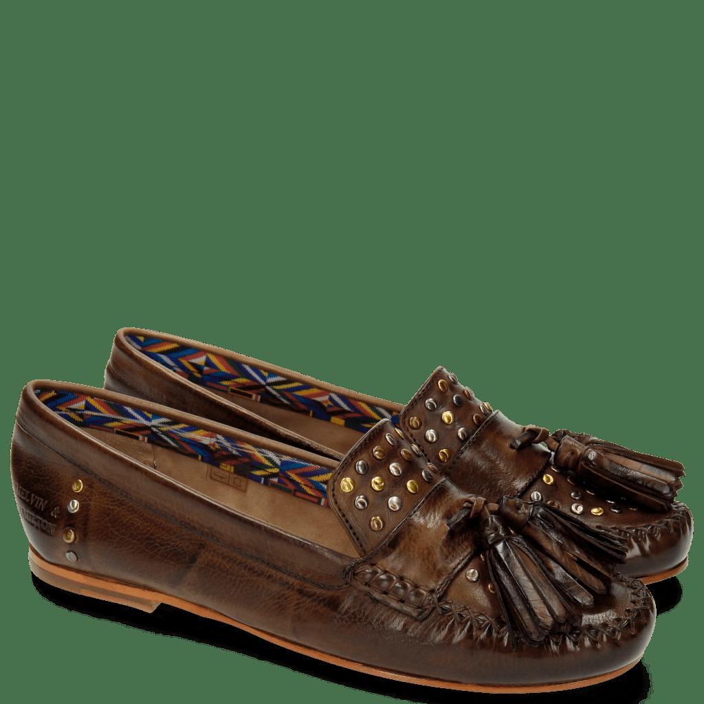 Loafers Bridget 2 Milano Dark Brown Rivets Multi