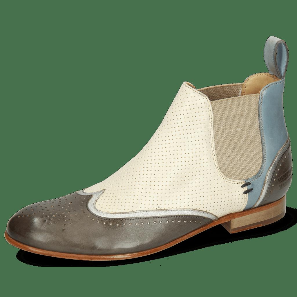 Ankle boots Sally 19 Imola Smoke Talca Steel Perfo White Sky Blue