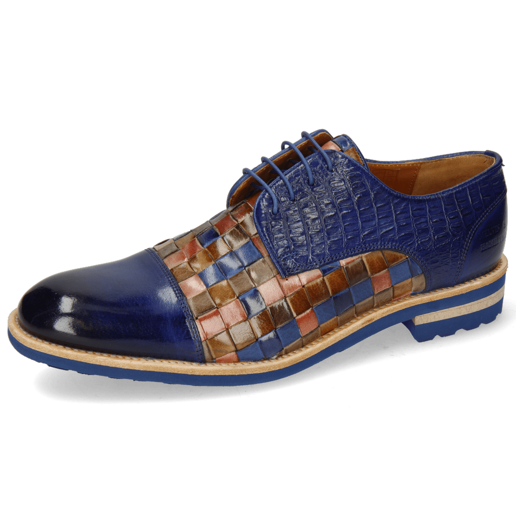 Derby shoes Eddy 11 Woven Multi Little Croco Midnight