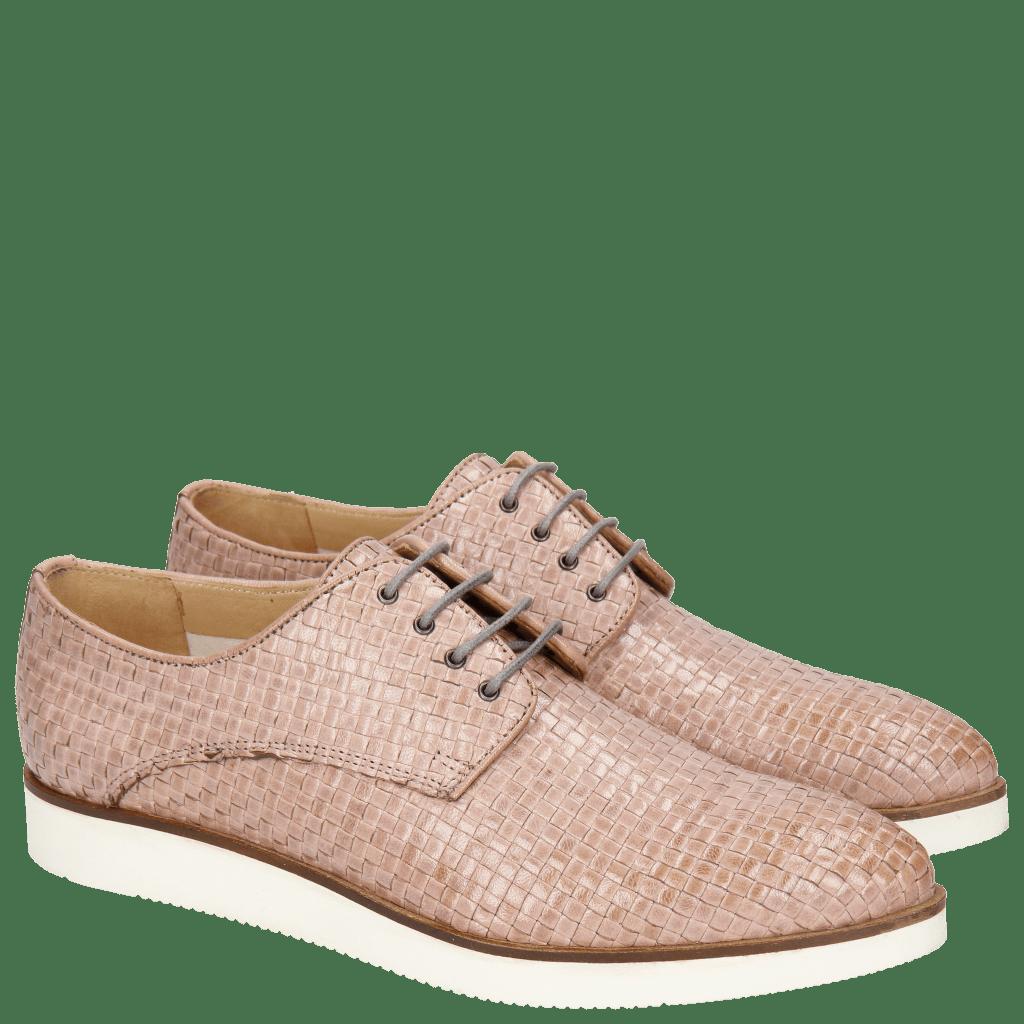 Derby shoes Jessy 5 Woven Galviston Light Rose Malden White
