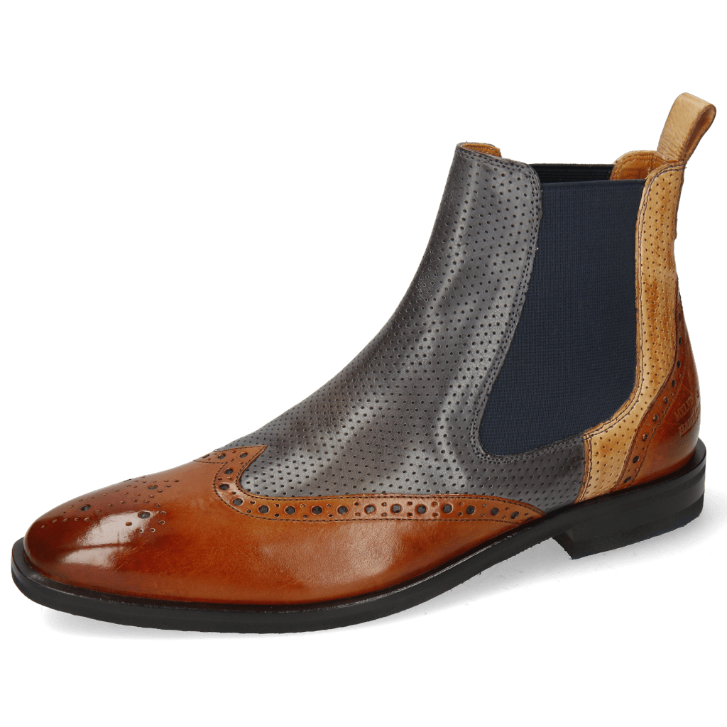 Ankle boots Alex 9 Berlin Tan Perfo Navy Sand