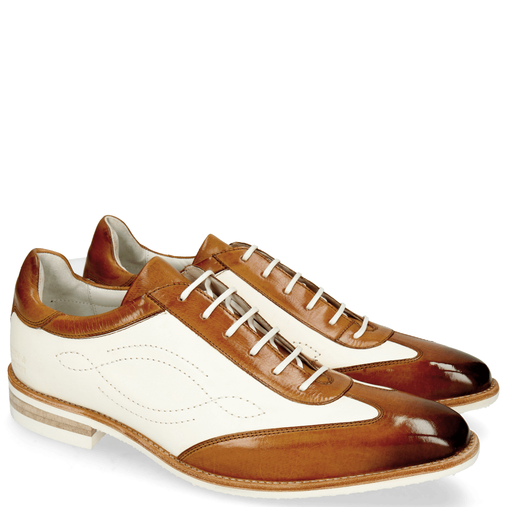 Oxford shoes Dave 6 Tan Vegas White Tongue Nappa Glove Camel