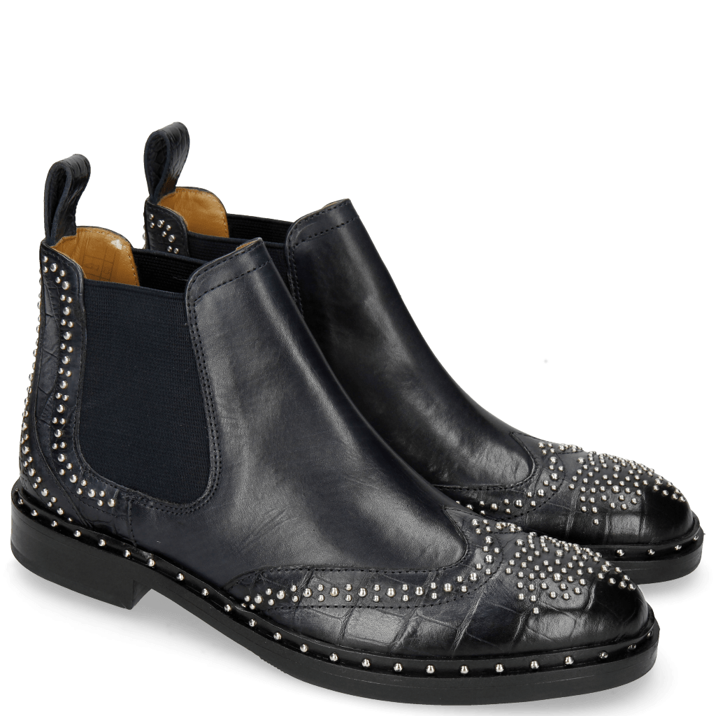 Ankle boots Sally 45 Big Croco Navy Rivets