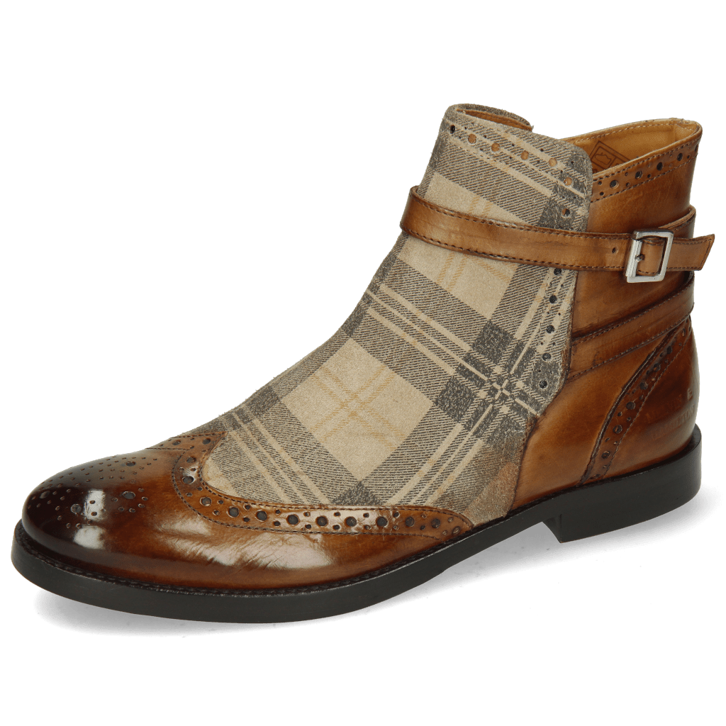 Ankle boots Amelie 11 Tobacco Suede Check Beige