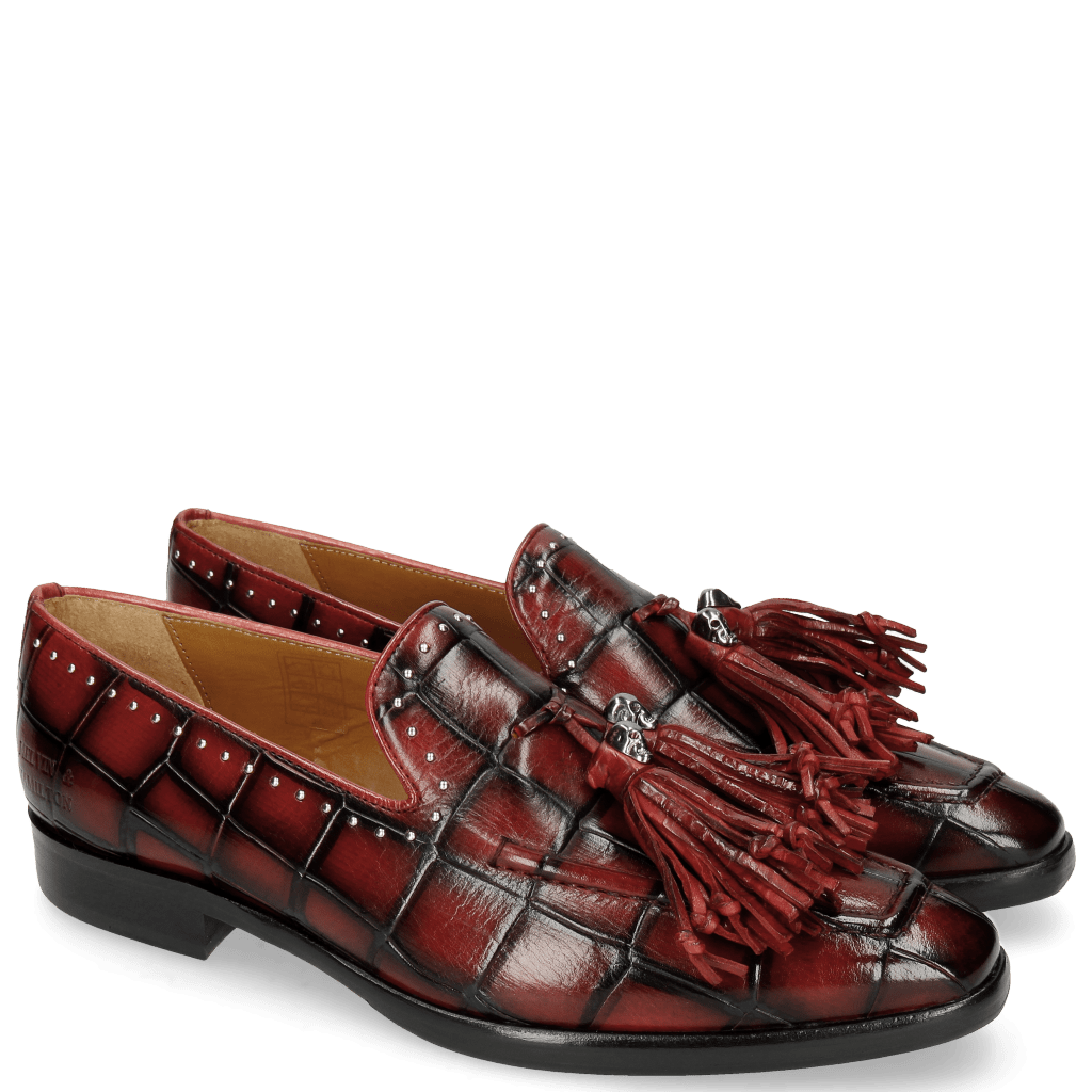 Loafers Emma 11TM Turtle Black Red Tassel Skull