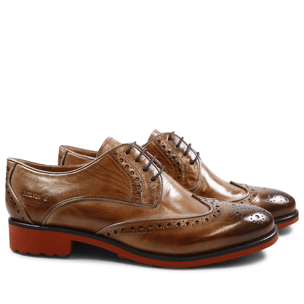 Derby shoes Amelie 48 Cappu Gold Finish Binding Bronze
