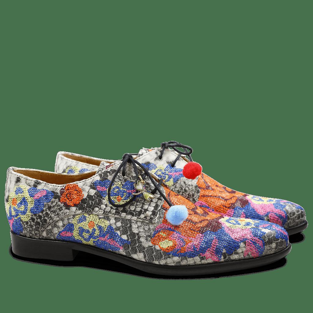 Derby shoes Keira 1 Snake Black White Orange Embrodery