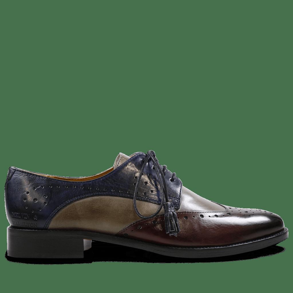 Derby shoes Betty 3 Crust Burgundy Smoke Navy Tassel Navy HRS