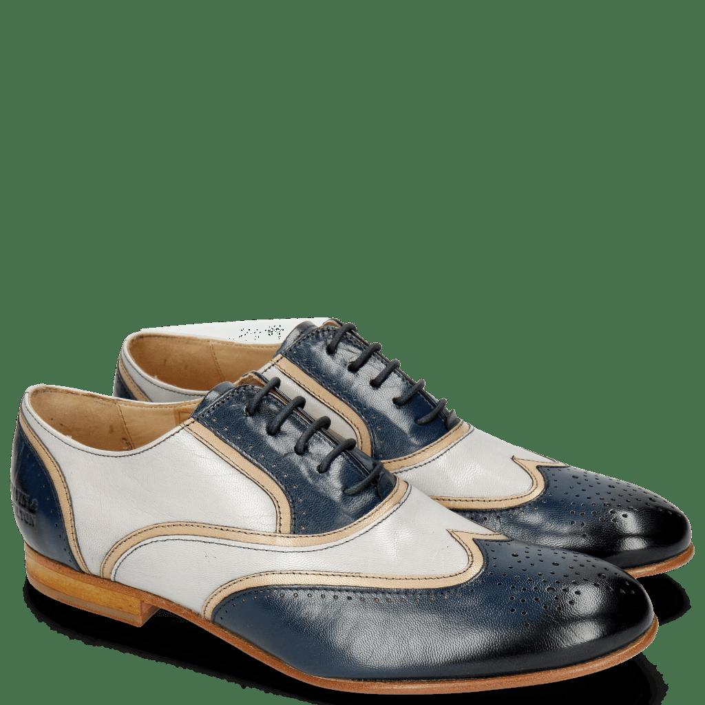 Oxford shoes Sally 38 Salerno Navy Light Grey Binding Cappu