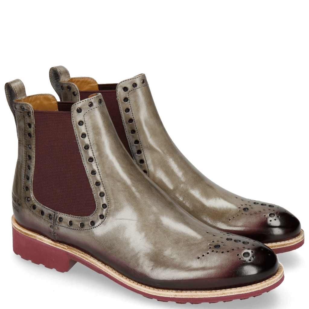 Ankle boots Amelie 8 Morning Grey Elastic Burgundy