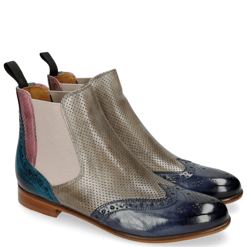 Ankle boots Selina 6 Moroccan Blue Perfo Oxygen Lilac Ice Blue